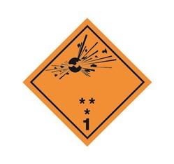 ADR pevná značka na plechu - Náchylné k výbuchu č. 1 (10 x 10 cm)