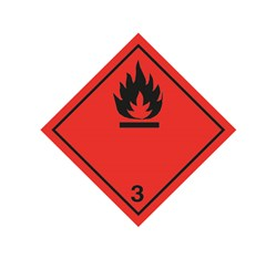 ADR pevná značka na plechu - Nebezpečenstvo požiaru č. 3  - čierny plameň (10 x 10 cm)