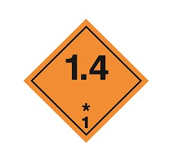 ADR pevná značka na plechu - Náchylné k výbuchu č. 1.4 (10 x 10 cm)