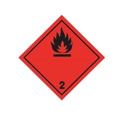 ADR pevná značka na plechu - Nebezpečenstvo požiaru č. 2  - čierny plameň (10 x 10 cm)