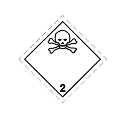ADR pevná značka na plechu - Jedovatá látka č. 2.3 (10 x 10 cm)