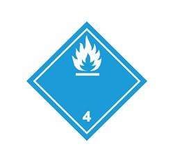 ADR pevná značka na plechu - Nebezpečenstvo č. 4.3 - biely plameň (10 x 10 cm)