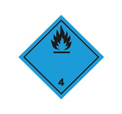 ADR pevná značka na plechu - Nebezpečenstvo č. 4.3 - čierny plameň (10 x 10 cm)
