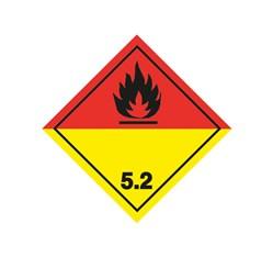 ADR pevná značka na plechu - Organický peroxid, nebez. požiaru č. 5.2 čierny plameň (10 x 10 cm)