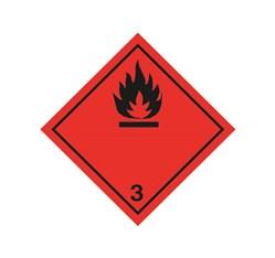 ADR nálepka - Nebezpečenstvo požiaru (horľavé kvapaliny) č. 3  - čierny plameň (25 x 25 cm)