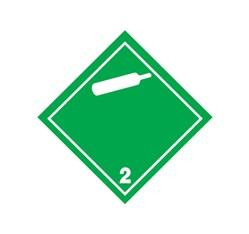 ADR nálepka - Nehorľavý nejedovatý plyn č. 2  - biela fľaša (25 x 25 cm)