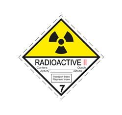 ADR nálepka - Rádioaktívna látka v kusoch kategórie II., č. 7B (25 x 25 cm)
