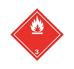 ADR pevná značka na plechu - Nebezpečenstvo požiaru č. 3  - biely plameň (25 x 25 cm)