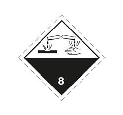 ADR pevná značka na plechu - Žieravá látka č. 8 (25 x 25 cm)