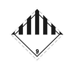 ADR pevná značka na plechu - Rôzne látky č. 9 (25 x 25 cm)