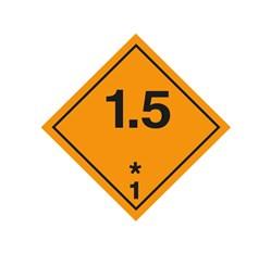 ADR pevná značka na plechu - Náchylné k výbuchu č. 1.5 (25 x 25 cm)