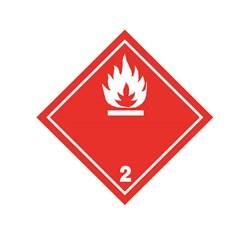 ADR pevná značka na plechu - Nebezpečenstvo požiaru č. 2  - biely plameň (25 x 25 cm)