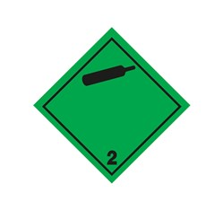 ADR pevná značka na plechu - Nehorľavý nejedovatý plyn č. 2  - čierna fľaša (25 x 25 cm)