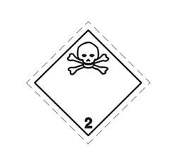 ADR pevná značka na plechu - Jedovatá látka č. 2.3 (25 x 25 cm)