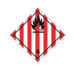 ADR pevná značka na plechu - Nebezpečenstvo požiaru (horľavé tuhé látky) č. 4.1 (25 x 25 cm)