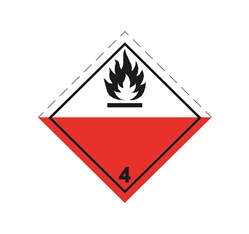 ADR pevná značka na plechu - Samozápalné látky č. 4.2 (25 x 25 cm)