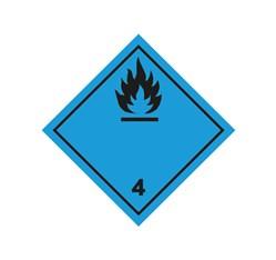 ADR pevná značka na plechu - Nebezpečenstvo č. 4.3 - čierny plameň (25 x 25 cm)
