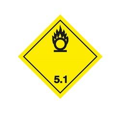 ADR pevná značka na plechu - Látka podporujúca horenie č. 5.1 (25 x 25 cm)