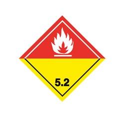 ADR pevná značka na plechu - Organický peroxid č. 5.2 biely plameň (25 x 25 cm)