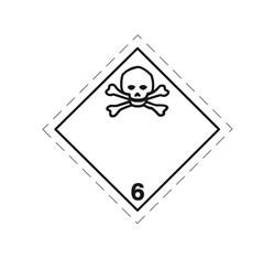 ADR pevná značka na plechu - Jedovatá látka č. 6.1 (25 x 25 cm)