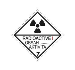 ADR pevná značka na plechu - Rádioaktívna látka v kusoch kategórie I., č. 7A (25 x 25 cm)