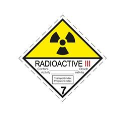 ADR pevná značka na plechu - Rádioaktívna látka v kusoch kategórie III., č. 7C (25 x 25 cm)