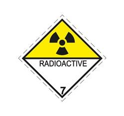 ADR pevná značka na plechu - Rádioaktívna látka predstavujúca nebezpečenstvo, č. 7D (25 x 25 cm)