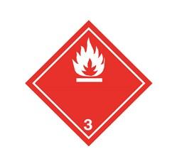 ADR pevná značka na plechu - Nebezpečenstvo požiaru č. 3  - biely plameň (30 x 30 cm)