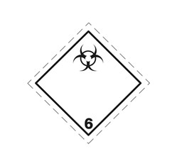 ADR pevná značka na plechu - Infekčná látka (biologické riziko) č. 6.2A (30 x 30 cm)