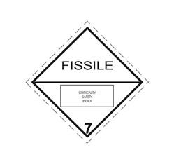 ADR pevná značka na plechu FISSILE - látka predstavujúca nebezpečenstvo, č. 7E (30 x 30 cm)