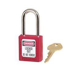 Bezpečnostný visiaci zámok - systém hlavného kľúča - červený