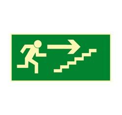 Únikové schodisko vpravo hore - hliník - 30,0 x 15,0 cm