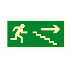 Únikové schodisko vpravo dole - hliník - 30,0 x 15,0 cm
