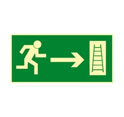 Únikový rebrík vpravo - fólie - 30,0 x 15,0 cm