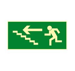 Únikové schodisko vľavo hore - hliník - 30,0 x 15,0 cm